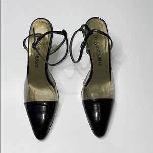 Yves saint laurent clear and black pointed heels